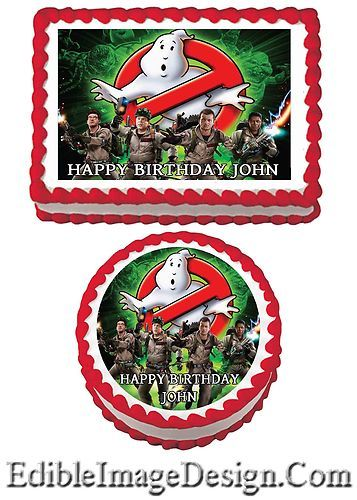 GHOSTBUSTERS Edible Birthday Party Cake Image Cupcake Topper Favor