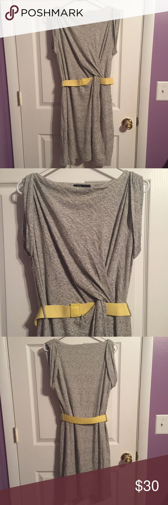 Ming Grey Dress with Yellow Belt Perfect condition, only worn once. Only selling because it no longer fits. Very soft and comfortable to wear. Materials: 50% Cotton, 32% Polyester, 18% Viscose. The lining is 100% Polyester. 34 inches in length. Ends at the knee. Fits true to size, which is a Medium. Ming Dresses Midi