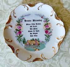 Vintage House Blessing Porcelain Plate 18K Gold Trim Japan Home House Warming
