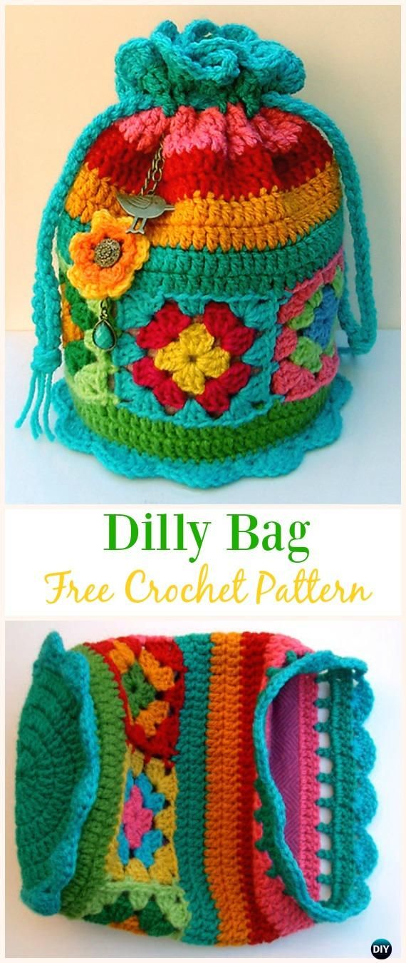Crochet Drawstring Bags Free Patterns Diy Tutorials Crocheting