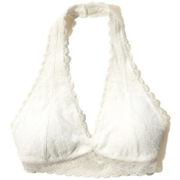 affa5ecda9382 Hollister Gilly Hicks Removable-Pads Lace Halter Bralette ( 17) ❤ liked on  Polyvore featuring intimates