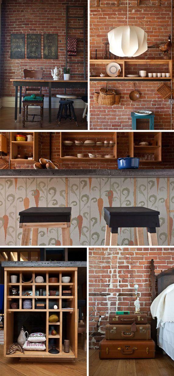 des briques du bois et du noir briques rouges cuisine. Black Bedroom Furniture Sets. Home Design Ideas