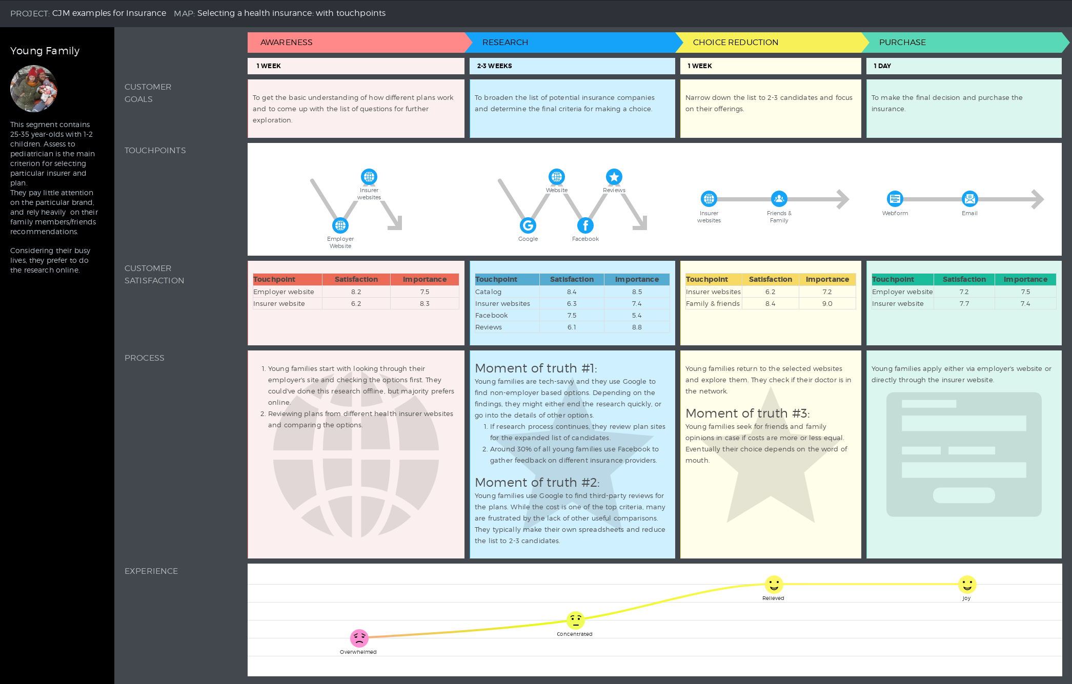 Example of a customer journey map on selecting a health ...