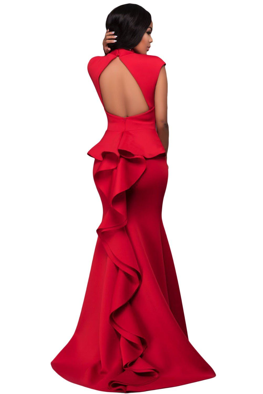 Red high neck ruffle back ponti backless gown backless gown and