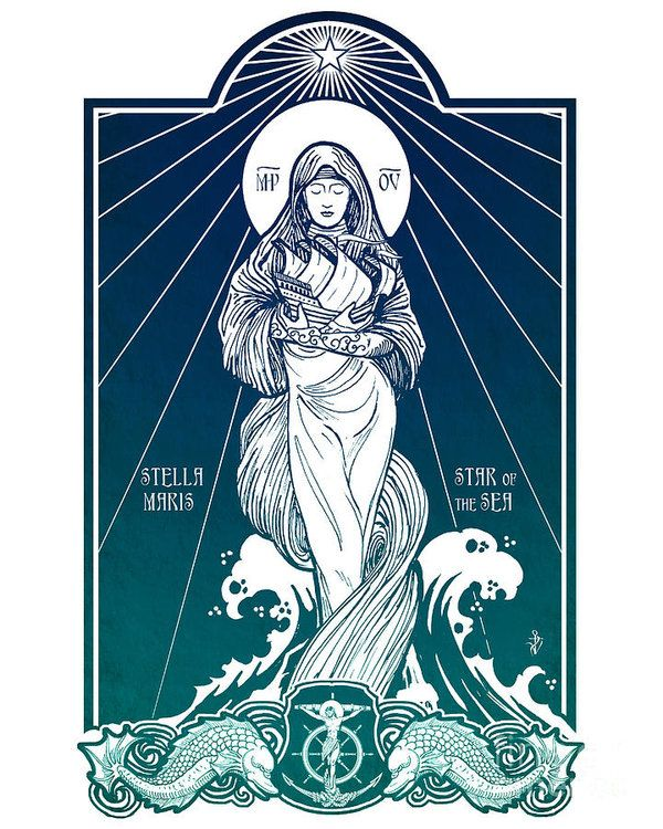 Stella Maris Art Print Featuring The Digital Art Stella Maris By Lawrence Klimecki Catholic Artist Christian Art Catholic Art