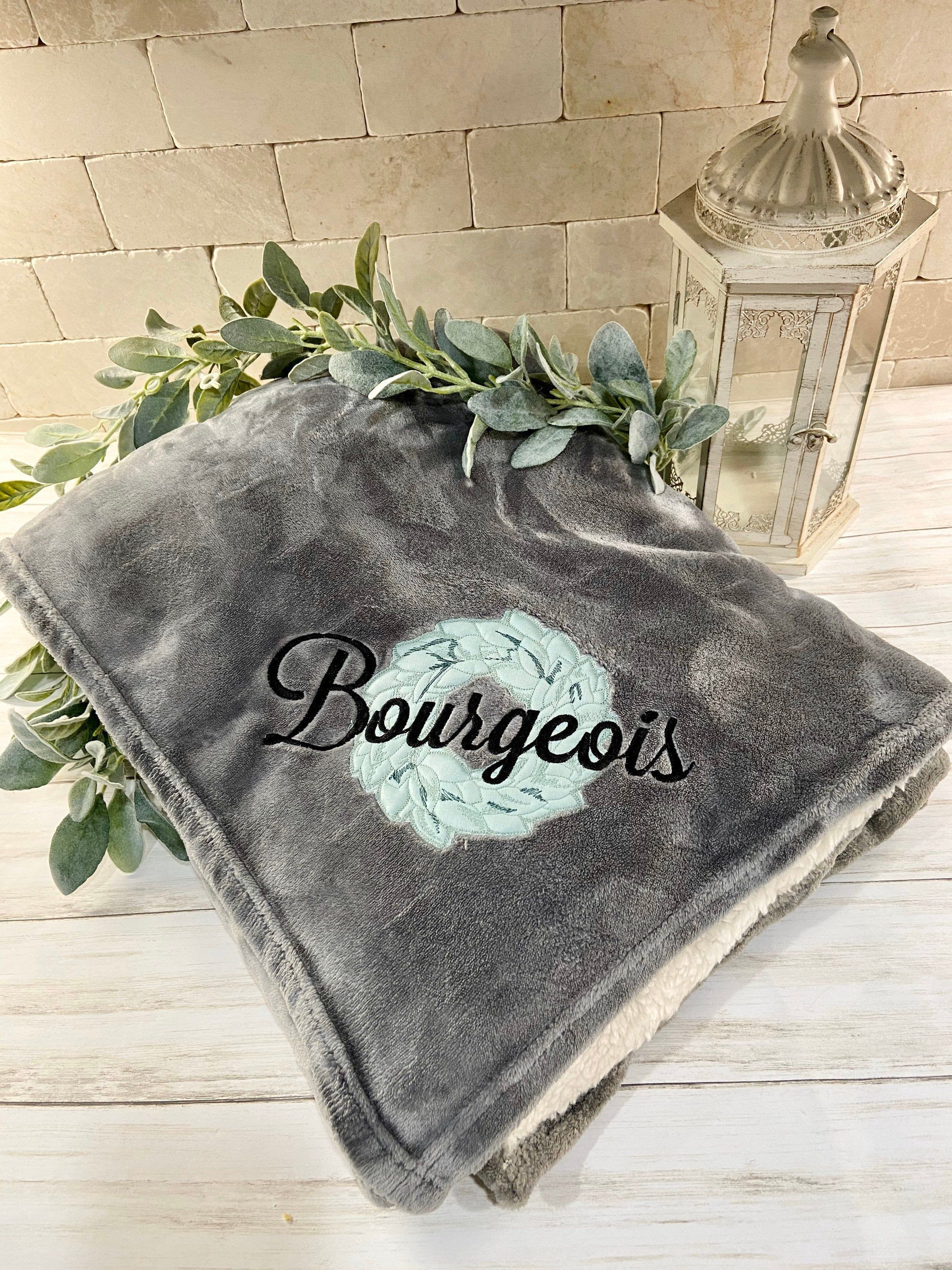 Photo of Personalized blanket with magnolia wreath, monogrammed last name blanket, embroidered farmhouse heirloom, wedding or anniversary gift