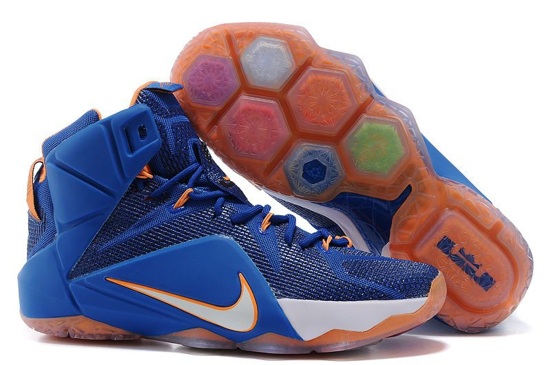 Mens Nike Brand New Release Air LeBron James 12 Basketball Sneakers - White  Orange and Navy Blue Colorway