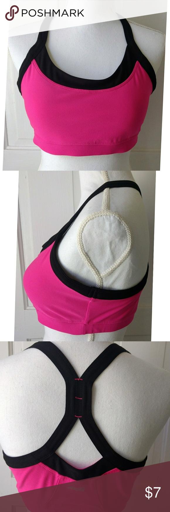 73b8921f32af6 Avia Pink and Black Racerback Sports Bra Size L Bright pink sports bra with  inserts