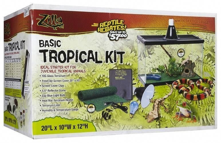 Basic Tropical Reptile Starter Tank Kit 10 Gallon Tank Size L 20 X W 10 X H 12 The Zilla Basic Tropical Kit Is Reptiles Tropical Animals Reptile Terrarium