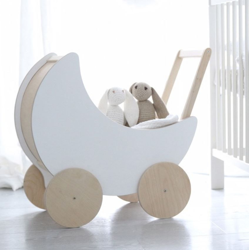 Look at this prototype of the cutest doll pram ever! We admit, we got a bit crazy with new ideas and we made this little thing just for fun.