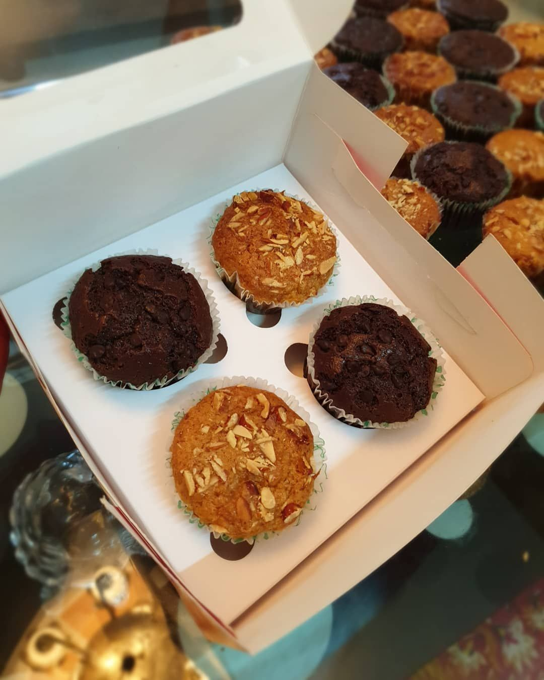 Almond and chocochip muffins! . Get your cakes and cupcakes customised by us. 💕 TheCakeArt making every occasion special! WhatsApp for orders.