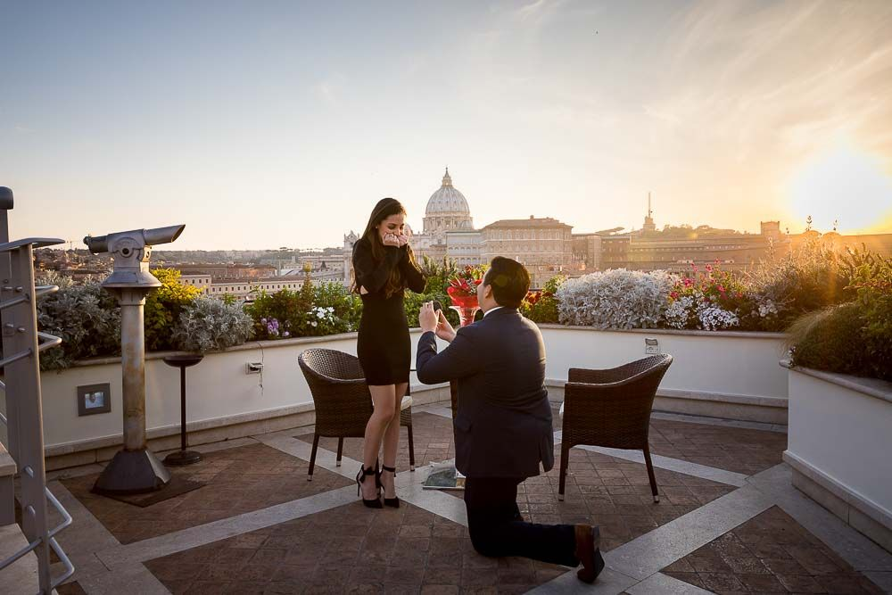Romantic Rooftop Proposal In Rome Roof Garden Terrace Bar Proposal Photographer Rooftop Wedding Wedding Proposals