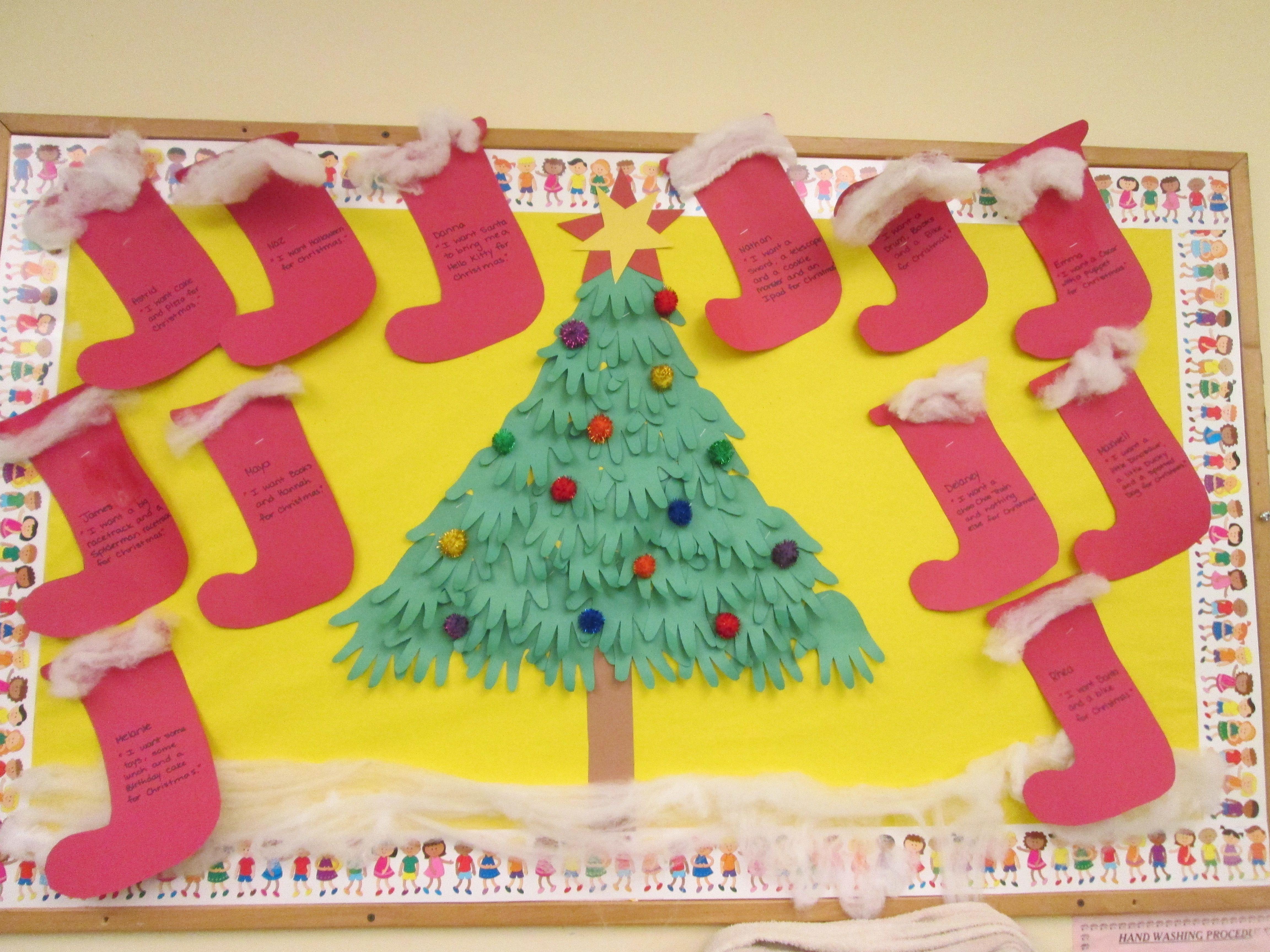 Christmas Tree And Stockings Bulletin Board