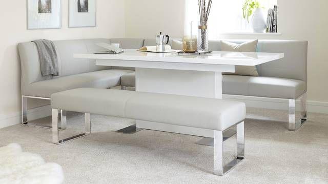 Fern White Gloss Extending Dining Table In 2019 Corner Bench