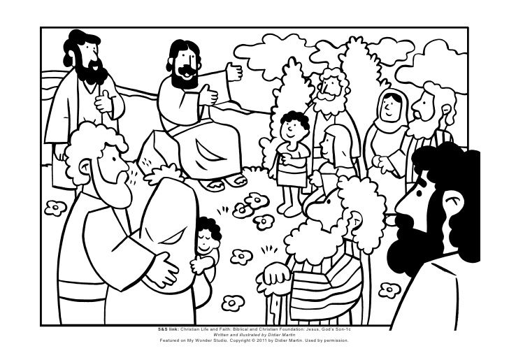 Coloring Page The Sermon On The Mount Sunday School Coloring