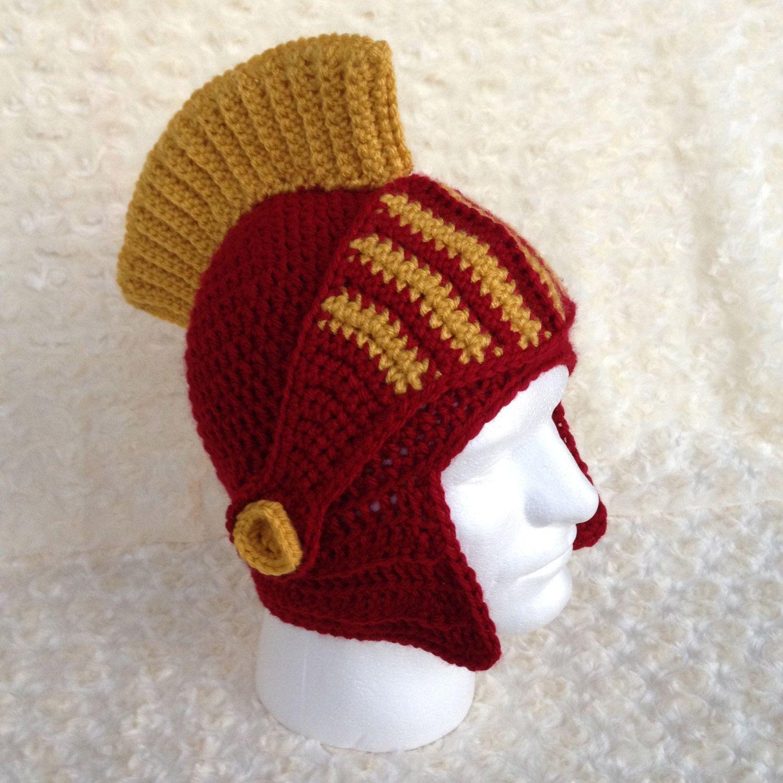 Handmade Crochet USC Trojans Helmet with Removable Faceguard ** Made ...