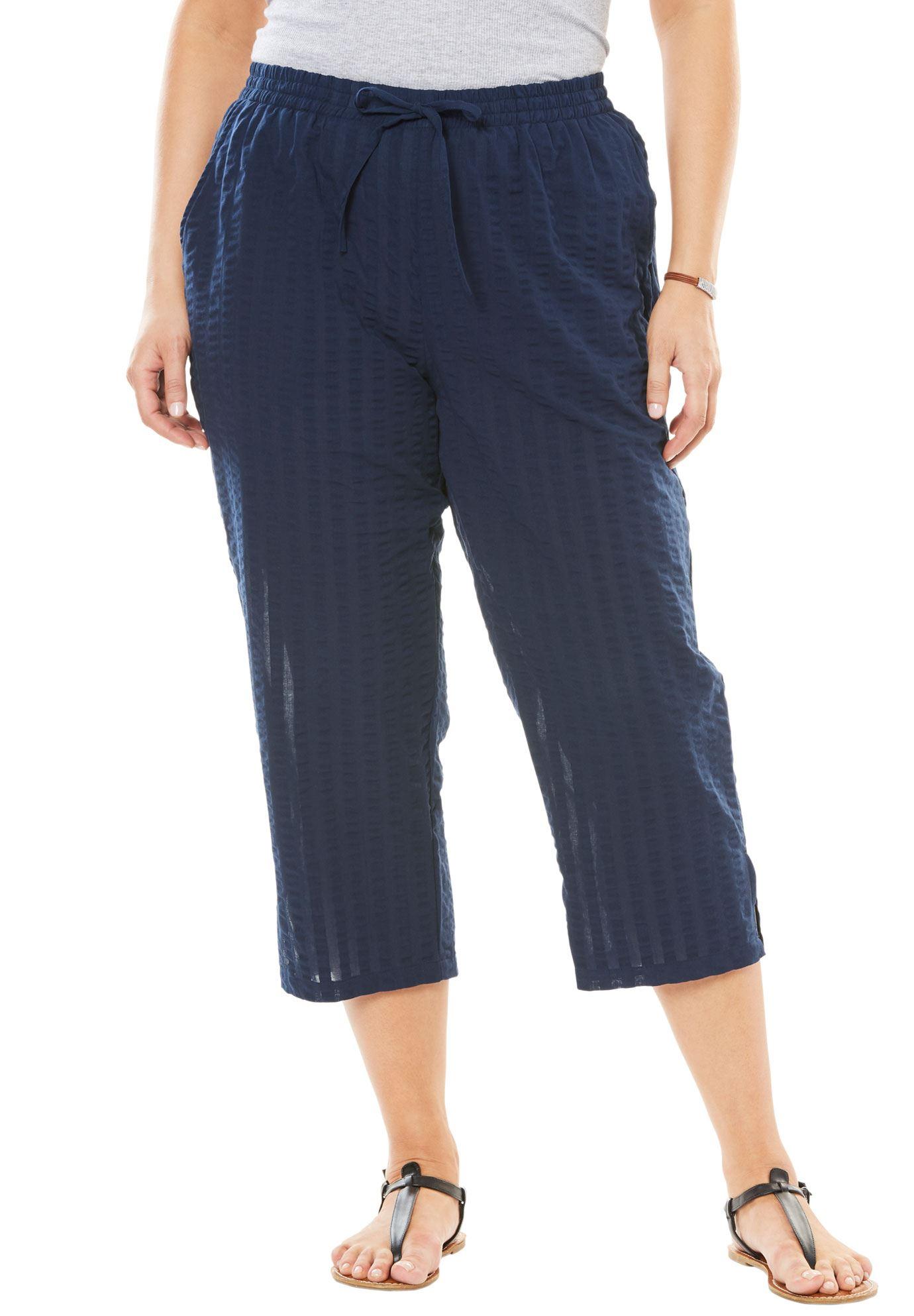 Petite Seersucker Capri Pants Women S Plus Size Clothing Pants