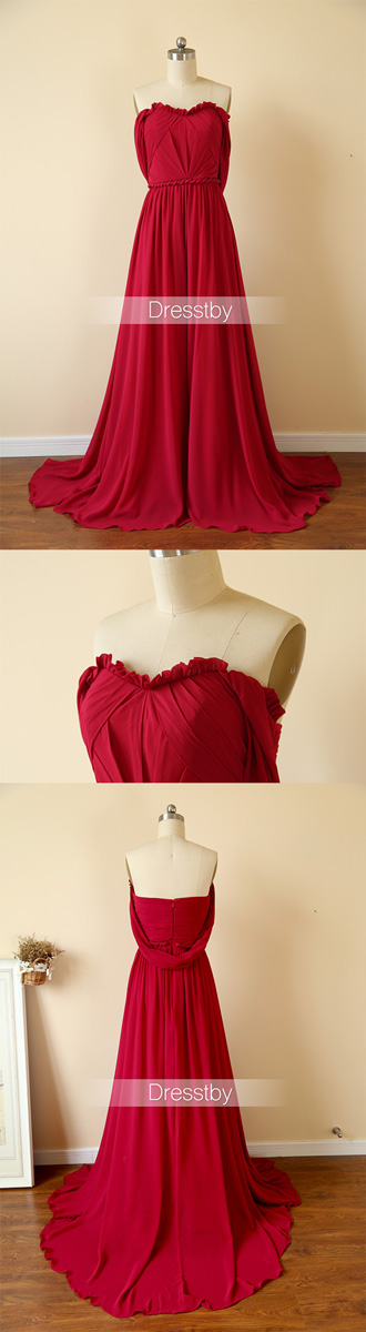 1698310ea068 A-line sweetheart dark red off shoulder chiffon long prom dress
