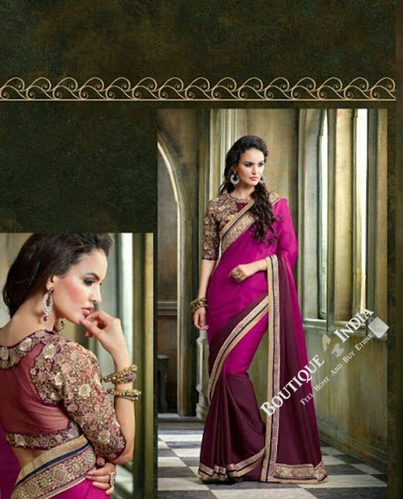 Sarees - Net and Chiffon with Purple And Golden Color