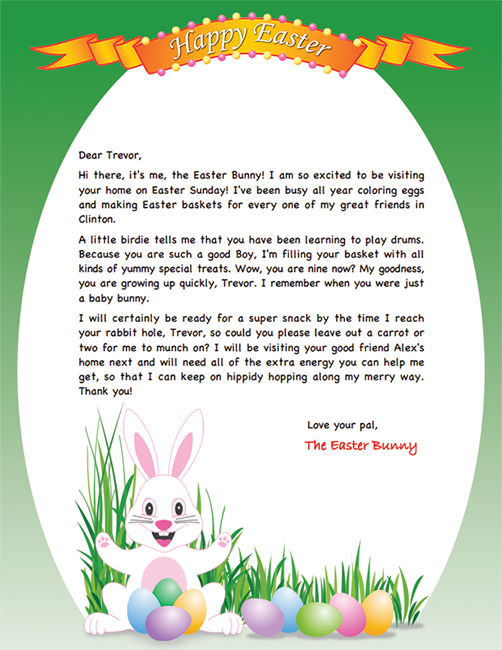FREE Easter Bunny Letter Printable – Easter Bunny Letter