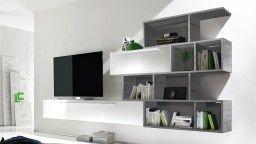 prix compétitif b820a 6b82a Meuble TV suspendu laqué blanc avec bibliothèque - Athyn ...