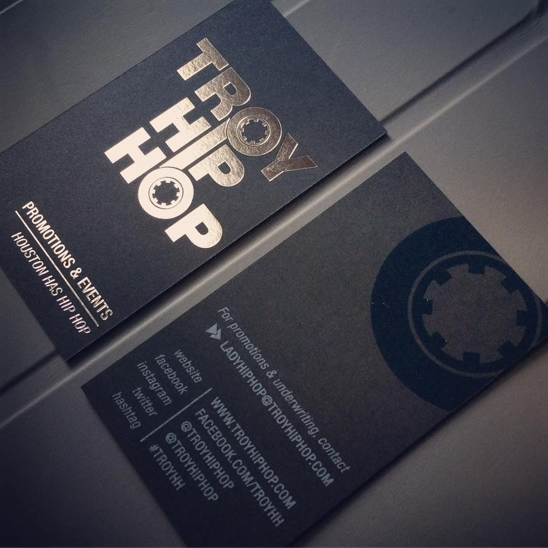 Troy Hip Hop Business Cards | Silver Foil & UV Spot on Black Linen ...