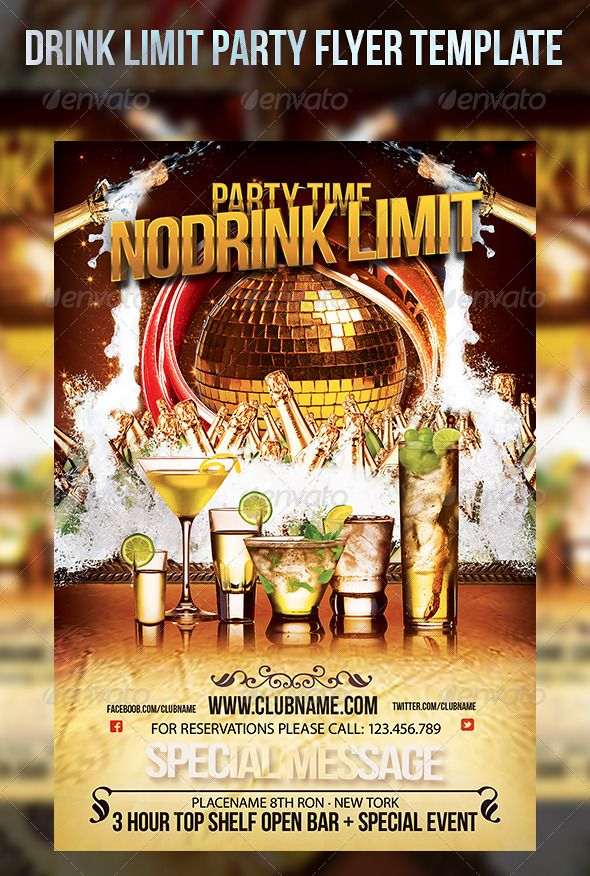 Drink Limit Party Flyer Template Party flyer, Flyer template and - party flyer