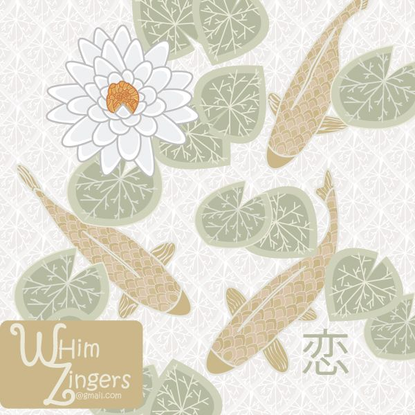 A digital repeat pattern for seamless tiling. #surfacepatterndesign #vector #graphic #homedecor #illustration #print #interiordesign #decor #scrapbooking #whimzingers #koi #fish #animals #water #lilies #lily #waterlilies #flowers #gold #green #asian #japanese #illustration