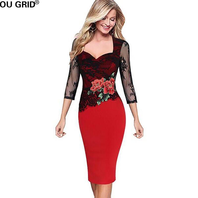 60bea4c18e9 Woman · Spring Lace Dress Women Vintage Flower Print Plus Size S-5XL Elegant  Lace Hollow Sleeve. Lace DressesPencil DressesBodycon ...
