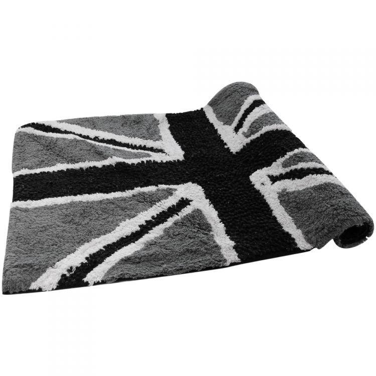 Union Jack Sparkly 100 Cotton Rug Bath Mat Black Grey