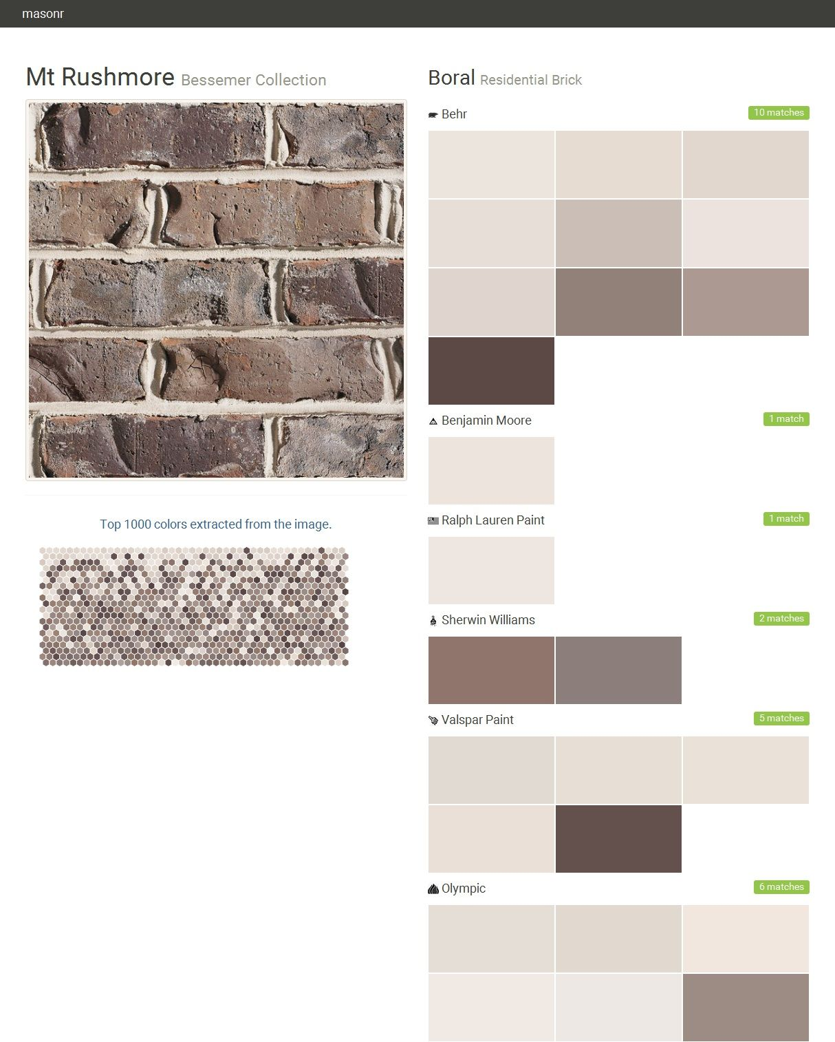 Mt rushmore bessemer collection residential brick boral behr benjamin moore ralph lauren - Breathable exterior masonry paint collection ...