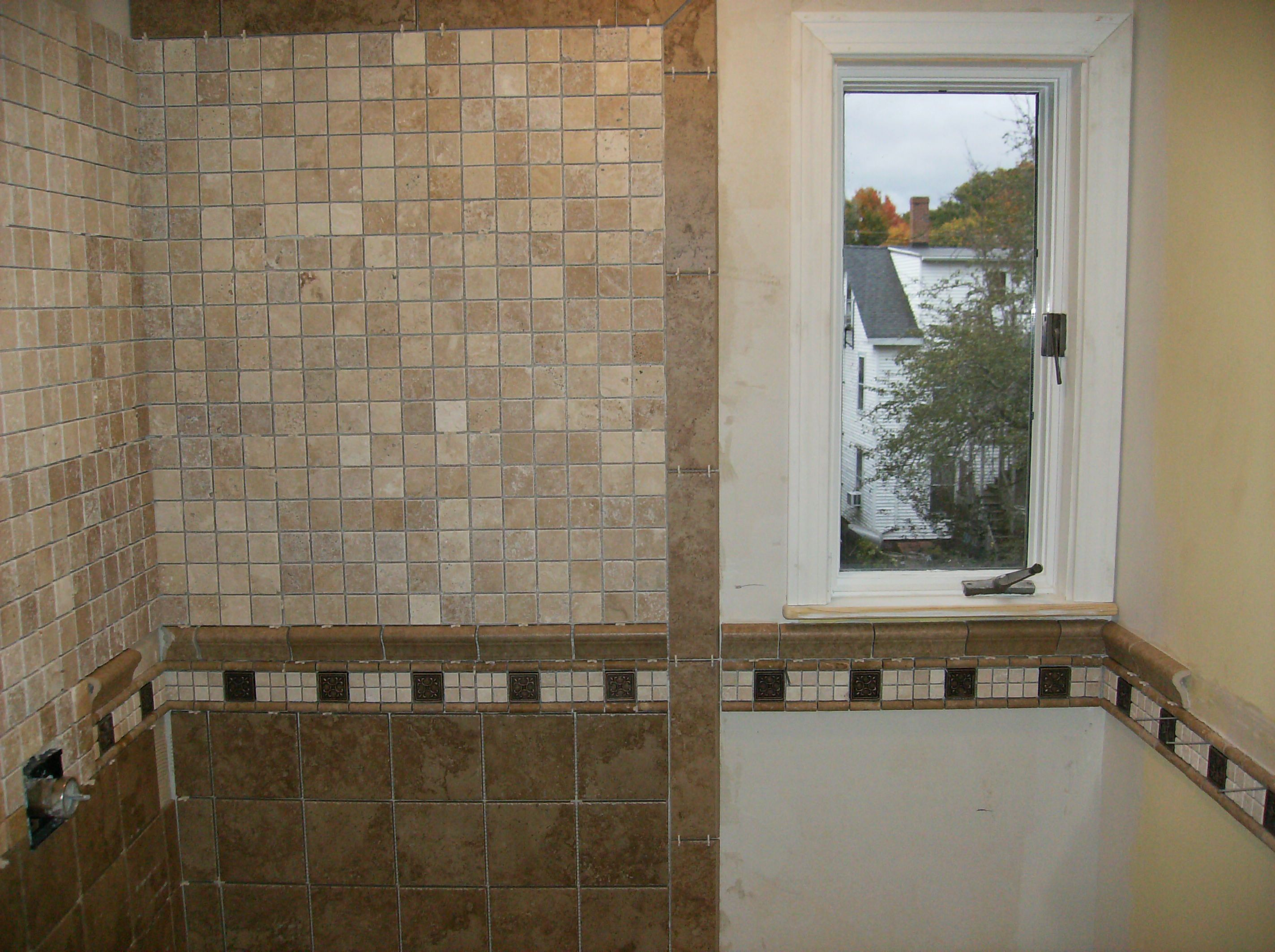 Chair Rail Tile In Shower Part - 33: Bathroom Tile: Chair Rail, Below U0026 Above Rail | Bathroom Tiling, Bathroom  Designs And Tile Flooring
