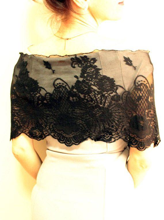 688467e373 UNIQUE HANDMADE LACE SHAWL Black lace cape shawl, black lace stole, evening  shawl, lace scarf, gothic wedding cover up bolero shawl, lace wrap scarf,  ...
