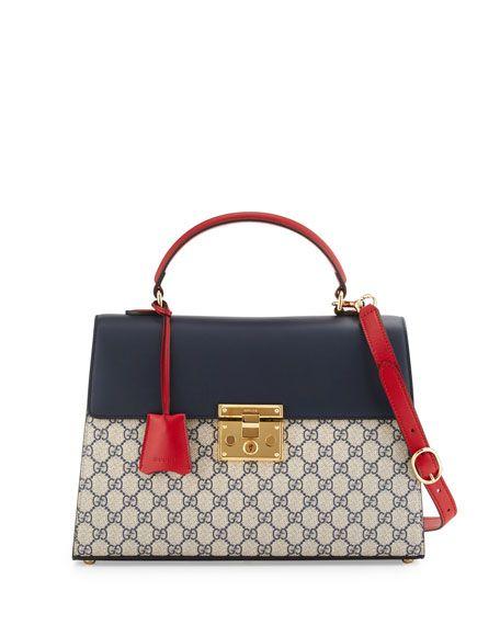 Gucci Padlock Gg Supreme Top Handle Satchel Bag Beige Blue Red Satchel Bags Gucci Padlock Gucci Satchel