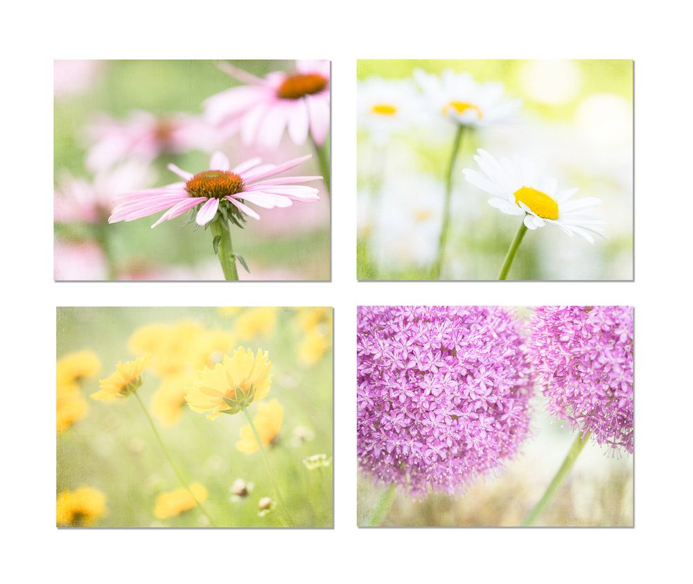 Flower Print Set, Yellow, Pink, Purple, White, Flower Photography ...