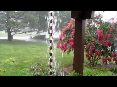 Rain Chain In A Thunderstorm Rain Chain Rain Barrel Charming Garden