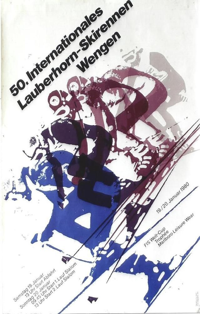Original Vintage Poster Ski World Cup Races Lauberhon