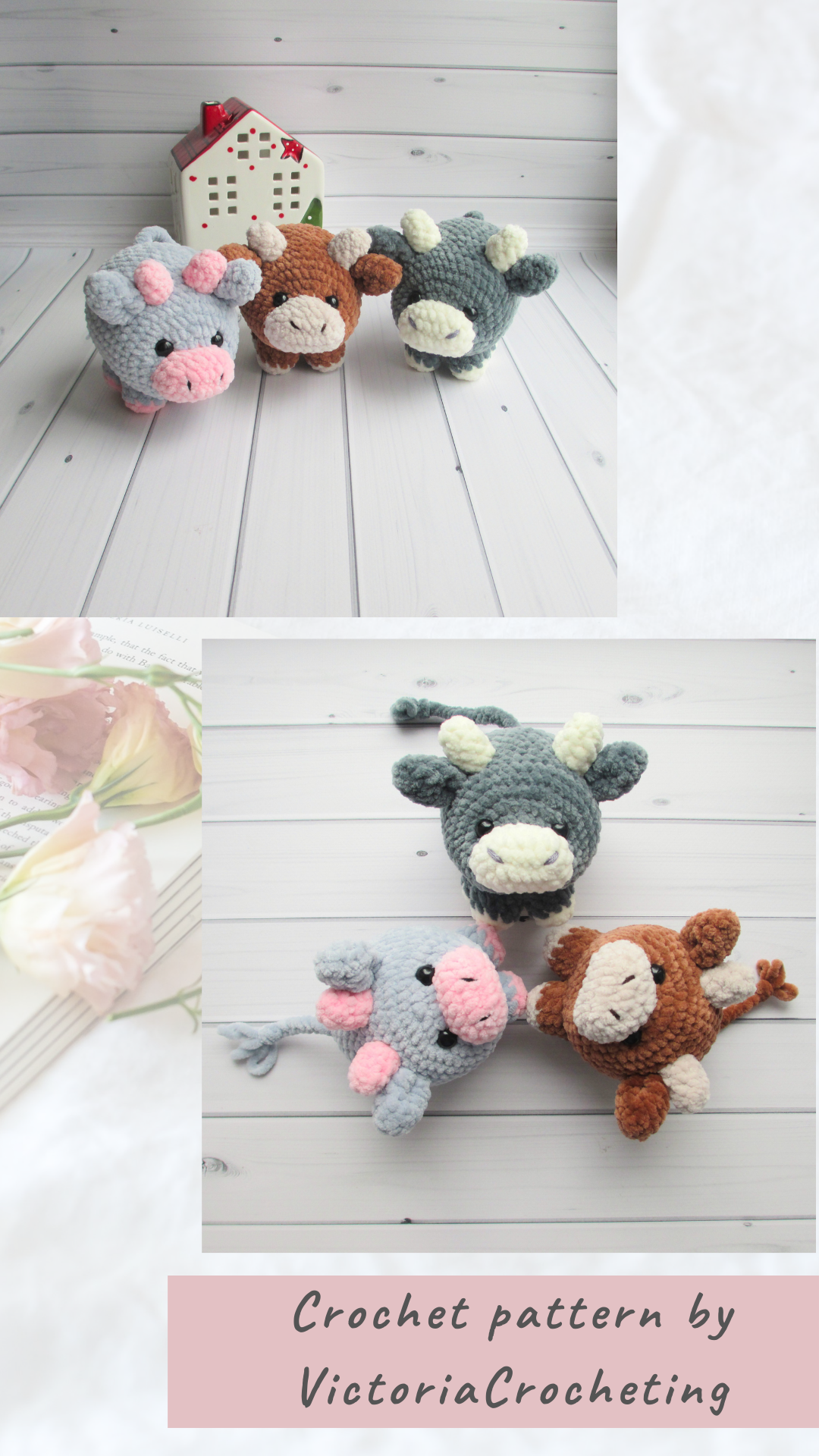 EASY crochet pattern COW, Amigurumi pattern, bull