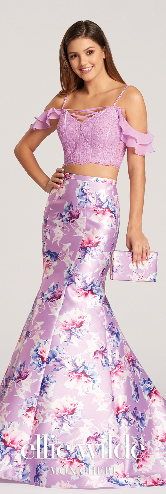 Two-Piece Off-the-Shoulder Floral Trumpet Prom Dress- EW118179 | Reinas