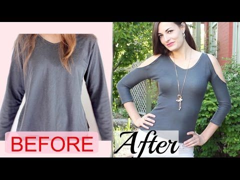 43ce2ac3e1f8fd How to Make a Sexy Cold Shoulder Top from a Baggy Shirt- Upcycled DIY -  YouTube