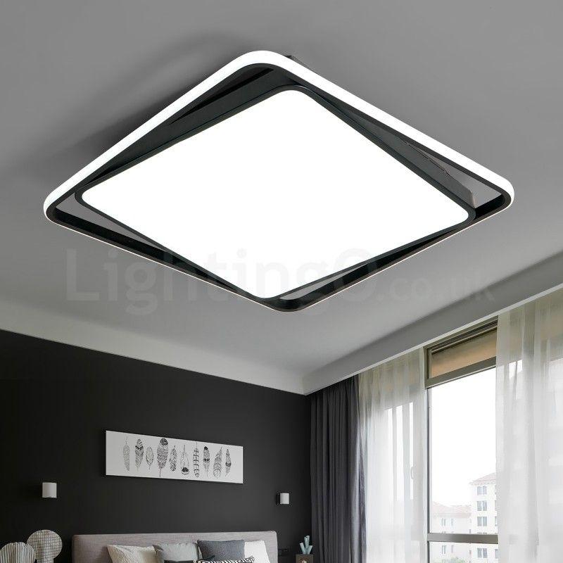 Modern Exquisite Black White Square Flush Mount Ceiling Lamp