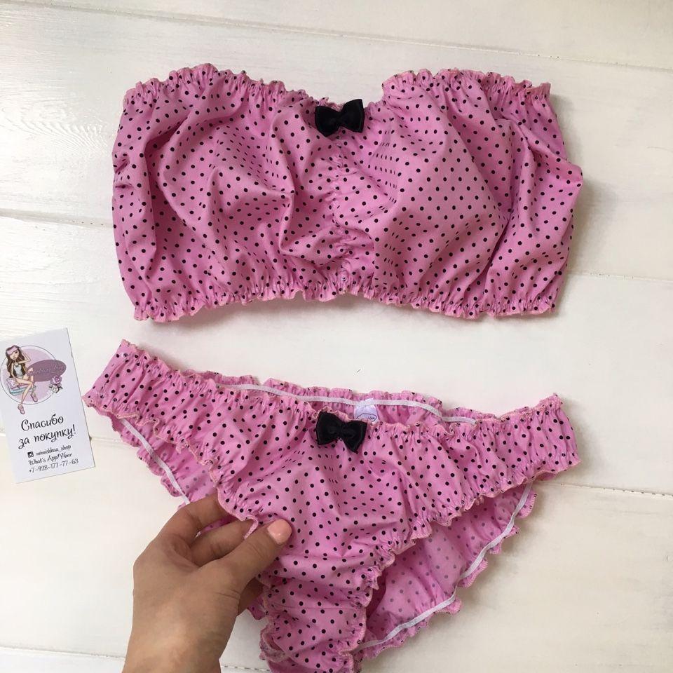6db4e08edfc3 Бандо слипы/шорты *Розовый с черным горошком* | Белье | Кружевное ...