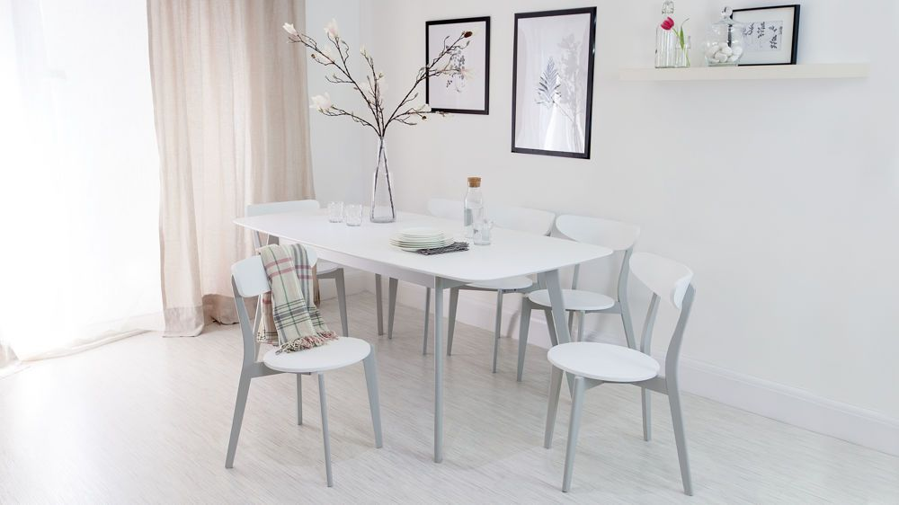 Aver Grey And White Extending Dining Set Gray And White Kitchen White Kitchen Chairs White Kitchen Table Set