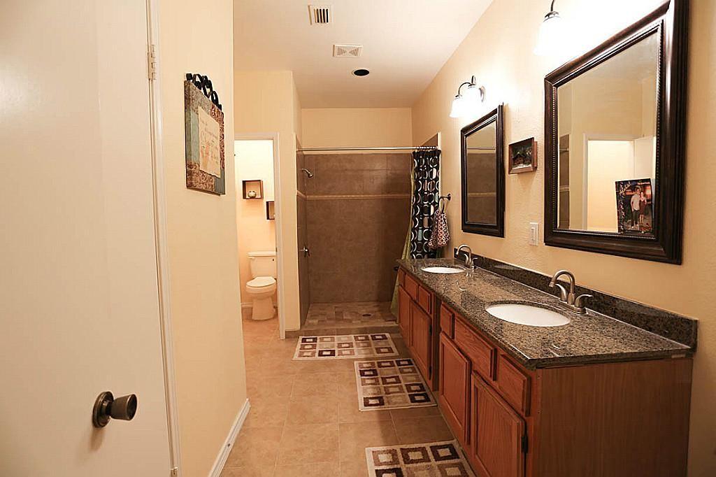 Master Bathroom New Toilette And New Double Sink Vanity With Granite Top Double Sink Vanity Red Oak Oak