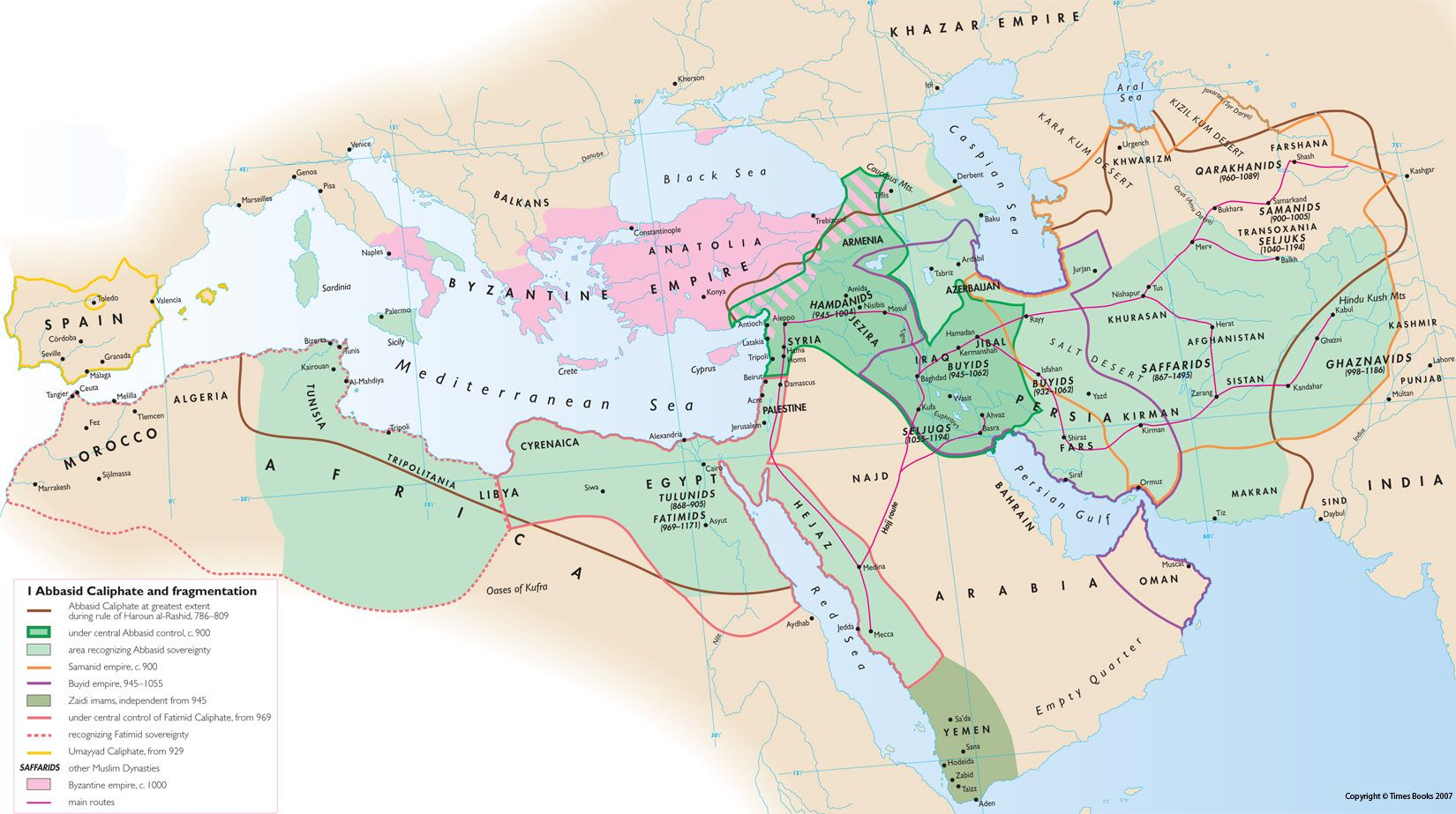 The three Muslim dynasties gained power with