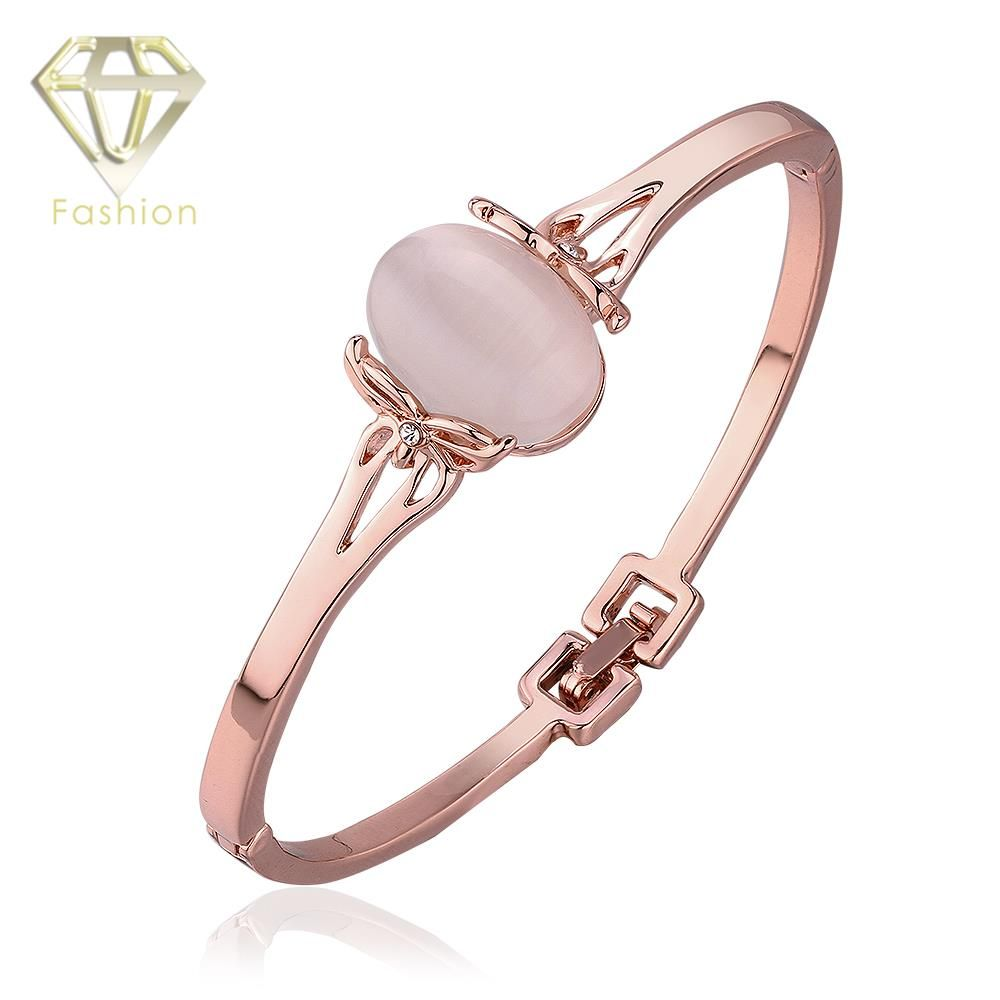 New Design Brand Rose Gold Color Crystal Opal Bracelets Bangles