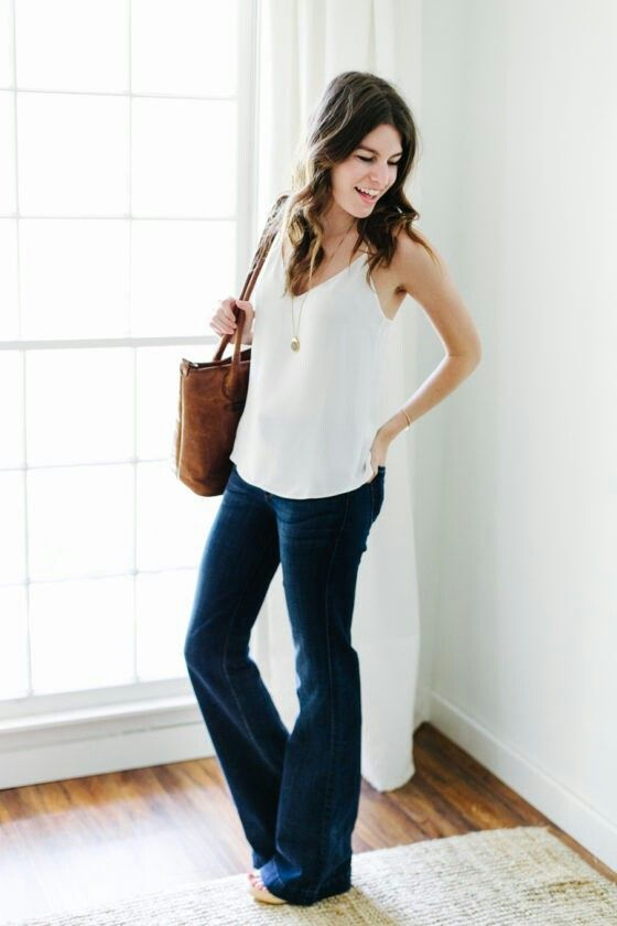 Unfancy outfit inspiration. Flares, cami & clogs