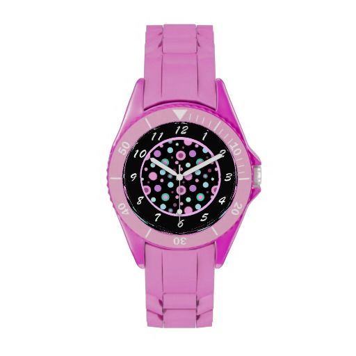 Pink Purple Green Polka Dots Novelty Watch by Avenue Central