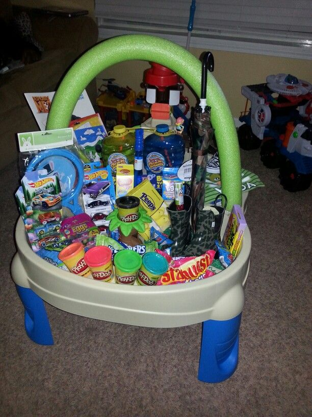 Love this idea and presentation collect all the items at the end sand and water table easter basket for toddler negle Images
