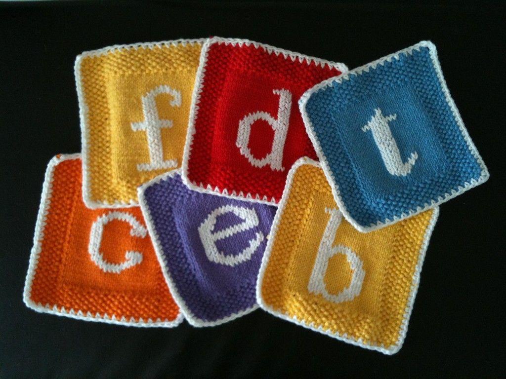 Monogrammed Knitted Dishcloth Free Pattern Knitting